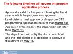 the following timelines will govern the program application process