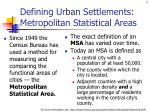 defining urban settlements metropolitan statistical areas