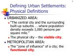 defining urban settlements physical definitions