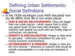 defining urban settlements social definitions