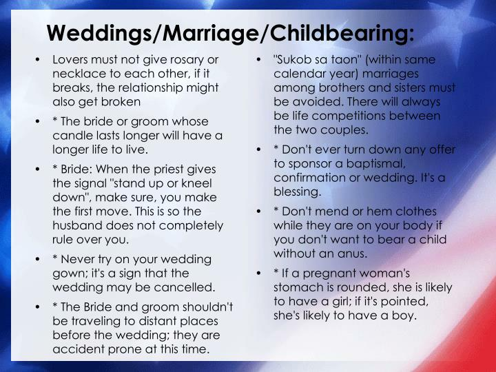 Weddings/Marriage/Childbearing: