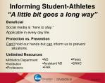 informing student athletes a little bit goes a long way