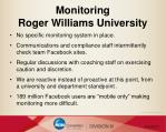 monitoring roger williams university