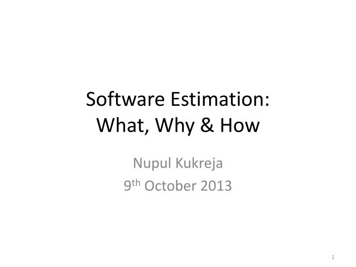 software estimation what why how n.