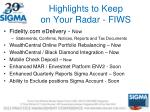 highlights to keep on your radar fiws