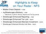 highlights to keep on your radar nfs