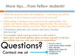 more tips from fellow students