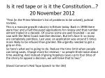 is it red tape or is it the constitution 20 november 2012