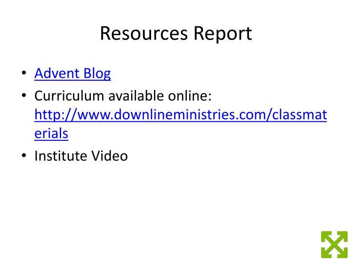 Resources Report