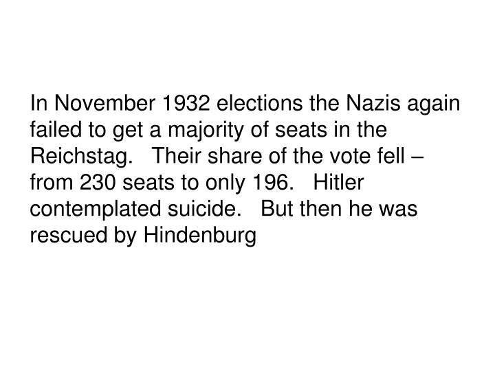 In November 1932 elections the Nazis again failed to get a majority of seats in the Reichstag.   Their share of the vote fell – from 230 seats to only 196.   Hitler contemplated suicide.   But then he was rescued by Hindenburg