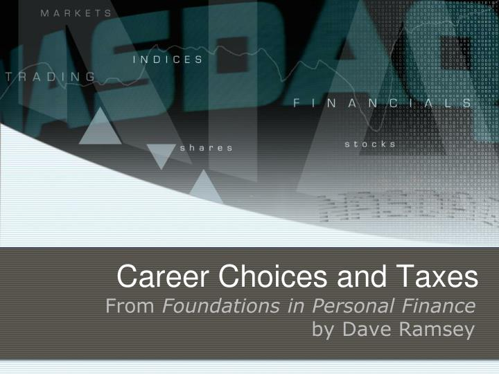 career choices and taxes n.