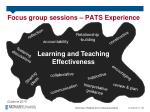 focus group sessions pats experience