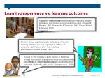 learning experience vs learning outcomes
