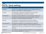 pats goal setting