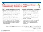 reflections case studies from pats co ordinators understanding institutional uptake