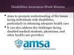 disabilities awareness week mission