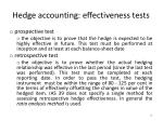 hedge accounting effectiveness tests