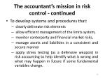 the accountant s mission in risk control continued