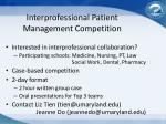 interprofessional patient management competition