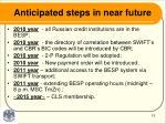 anticipated steps in near future