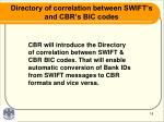 directory of correlation between swift s and cbr s bic codes