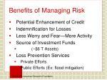benefits of managing risk