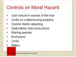 controls on moral hazard