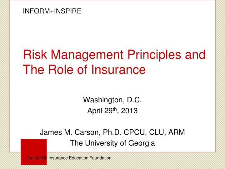 risk management principles and the role of insurance n.