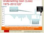 underwriting gain loss 1975 2012 q3
