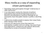 mass media as a way of expanding citizen participation