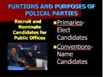 funtions and purposes of polical parties