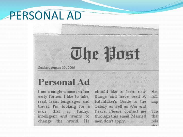 PERSONAL AD