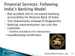financial services following india s banking model