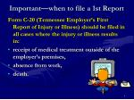 important when to file a 1st report