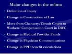 major changes in the reform