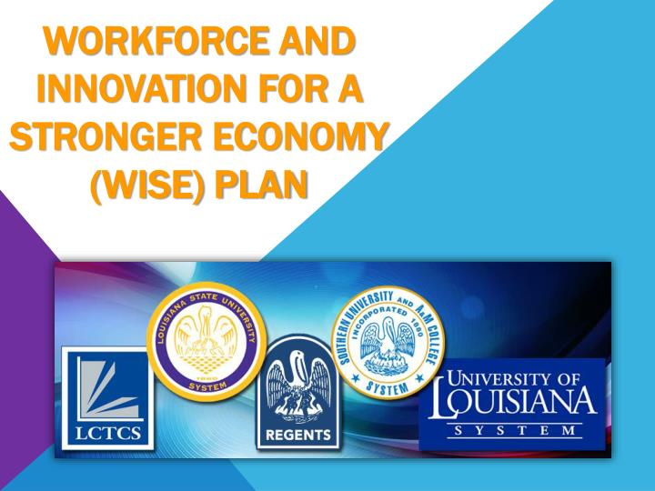 workforce and innovation for a stronger economy wise plan n.