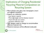 implications of changing residential recycling material composition on recycling system