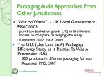 packaging audit approaches from other jurisdictions