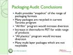packaging audit conclusions