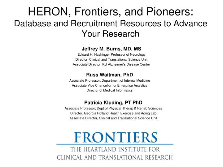 heron frontiers and pioneers database and recruitment resources to advance your research n.