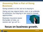 assuming risk is part of doing business