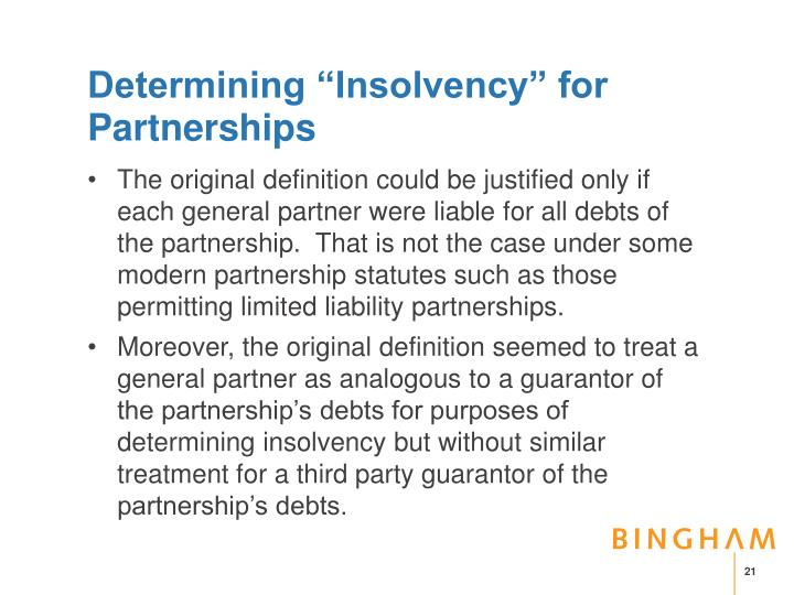 """Determining """"Insolvency"""" for Partnerships"""