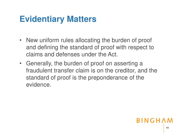 Evidentiary Matters