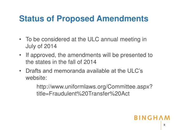 Status of Proposed Amendments
