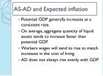 as ad and expected inflation