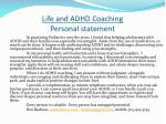 life and adhd coaching personal statement
