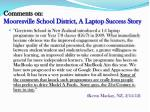 comments on mooresville school district a laptop success story