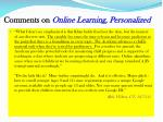 comments on online learning personalized