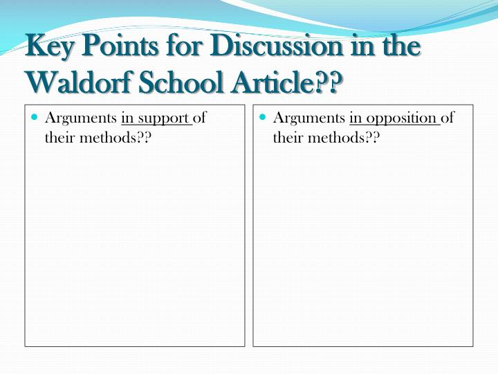 Key Points for Discussion in the Waldorf School Article??