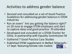 activities to address gender balance